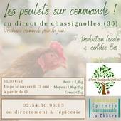 Pensez-y ! Dès maintenant passez commande de poulets locaux et bio ! (congélation possible) ― ― ― ― ― ― Belle journée 🌍 Gwen & Arnaud, vos épiciers 🌿 ― ― ― ― ― ― On passe au vrac É͏p͏i͏c͏e͏r͏i͏e͏ i͏n͏d͏e͏́p͏e͏n͏d͏a͏n͏t͏e͏, de͏p͏u͏i͏s͏ m͏a͏r͏s͏ 2͏0͏1͏9͏ ⏳ Du Mardi au Samedi : 9h - 19h en continu ♻️ + de ❶⓿⓿⓿ références 🏡 117 rue nationale • 36400 La Châtre ✆ 02.54.30.96.93 ⏸ Arrêt-minute ♿ Accès PMR 🛒 https://www.onpasseauvrac.fr/ ― ― ― ― ― ― #onpasseauvrac #zerodechet #ecoresponsable #antigaspi #opav #lachatre #berryprovince #centrevaldeloire #sansemballage #commercedeproximite #vrac #vracindependant #consommerautrement