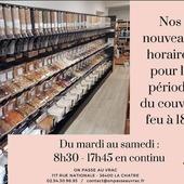 [ 𝐈𝐧𝐟𝐨𝐫𝐦𝐚𝐭𝐢𝐨𝐧 𝐢𝐦𝐩𝐨𝐫𝐭𝐚𝐧𝐭𝐞 𝐂𝐎𝐔𝐕𝐑𝐄-𝐅𝐄𝐔 𝟏𝟖𝐡 ] Bonsoir à tous, Suite à l'annonce gouvernementale de l'application du couvre-feu à 18h dans toute la France, nous vous annonçons que nous avons décidé d'ouvrir l'épicerie en continu de 8h30 à 17h45, du mardi au samedi. Ceci à partir du 26 janvier, à notre retour de congés. Nous continuons à vous accueillir en toute sécurité, le port du masque est obligatoire (bouche et nez), désinfection des mains et des contenants systématique à votre arrivée. Cette amplitude horaire permettra de fluidifier au maximum l'affluence dans l'épicerie. ▶️ Nous vous rappelons que nous pouvons aussi vous livrer à domicile sur un rayon de 10km autour de La Châtre. ▶️ Nos points-relais sont toujours opérationnels pour vos commandes faites sur notre site e-commerce. Continuons nos efforts, prenez soin de vous. ― ― ― ― ― ― Ǥᗯᗴᑎ ᗴ丅 ᗩᖇᑎᗩᑌᗪ 𝐕os épiciers 🌿 ― ― ― ― ― ― 𝐎𝓷 𝐏𝐚𝐬𝐬𝐞 𝐀𝓾 𝐕𝐫𝐚𝐜 E͏p͏i͏c͏e͏r͏i͏e͏ i͏n͏d͏e͏́p͏e͏n͏d͏a͏n͏t͏e͏. D͏e͏p͏u͏i͏s͏ m͏a͏r͏s͏ 2͏0͏1͏9͏ ⏳ 𝐃u Mardi au Samedi : 8h30-17h45 ♻️ + de ❶⓿⓿⓿ références 🏡 117 rue nationale • 36400 La Châtre ✆ 02.54.30.96.93 ⏸ 𝐀rrêt-minute ♿ 𝐀ccès PMR 🛒 https://www.onpasseauvrac.fr/ ― ― ― ― ― ― #zerodechet #ecoresponsable #antigaspi #opav #lachatre #berryprovince #centrevaldeloire #commercedeproximite #vrac #vracindependant #sansemballage #consommerautrement