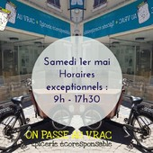 Bonjour Bonjour 🤗 Prenez note ! Nous fermerons un tout petit peu plus tôt le 1er et le 8 mai.  Passez une belle semaine ☀️🌺 ― ― ― ― ― ― Gwen & Arnaud, vos épiciers 🌿 ― ― ― ― ― ― On passe au vrac É͏p͏i͏c͏e͏r͏i͏e͏ i͏n͏d͏e͏́p͏e͏n͏d͏a͏n͏t͏e͏, de͏p͏u͏i͏s͏ m͏a͏r͏s͏ 2͏0͏1͏9͏ ⏳ Du Mardi au Samedi : 9h - 19h en continu ♻️ + de ❶⓿⓿⓿ références 🏡 117 rue nationale • 36400 La Châtre ✆ 02.54.30.96.93 ⏸ Arrêt-minute ♿ Accès PMR 🛒 https://www.onpasseauvrac.fr/ ― ― ― ― ― ― #onpasseauvrac #zerodechet #ecoresponsable #antigaspi #opav #lachatre #berryprovince #centrevaldeloire #sansemballage #commercedeproximite #vrac #vracindependant #consommerautrement