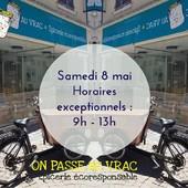 Bonjour Bonjour 🤗 Prenez note ! Le 8 mai, ouverture uniquement le matin ! Le marché de La Châtre est maintenu ;) Passez une belle semaine ☀️🌺 ― ― ― ― ― ― Gwen & Arnaud, vos épiciers 🌿 ― ― ― ― ― ― On passe au vrac É͏p͏i͏c͏e͏r͏i͏e͏ i͏n͏d͏e͏́p͏e͏n͏d͏a͏n͏t͏e͏, de͏p͏u͏i͏s͏ m͏a͏r͏s͏ 2͏0͏1͏9͏ ⏳ Du Mardi au Samedi : 9h - 19h en continu ♻️ + de ❶⓿⓿⓿ références 🏡 117 rue nationale • 36400 La Châtre ✆ 02.54.30.96.93 ⏸ Arrêt-minute ♿ Accès PMR 🛒 https://www.onpasseauvrac.fr/ ― ― ― ― ― ― #onpasseauvrac #zerodechet #ecoresponsable #antigaspi #opav #lachatre #berryprovince #centrevaldeloire #sansemballage #commercedeproximite #vrac #vracindependant #consommerautrement